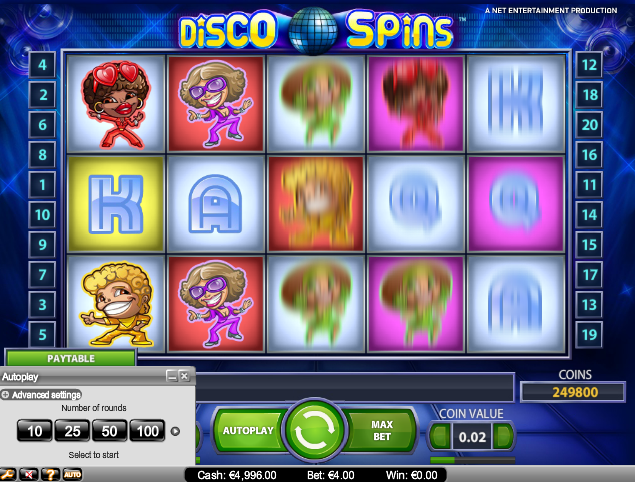 online kolikkopelit Disco Spins, Net Entertainment