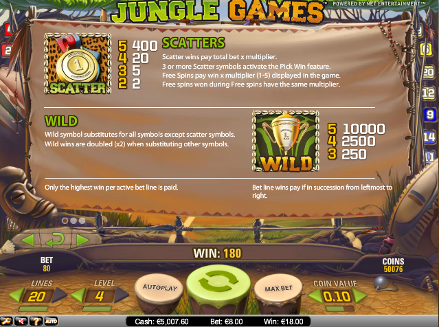 online kolikkopelit Jungle Games, Net Entertainment