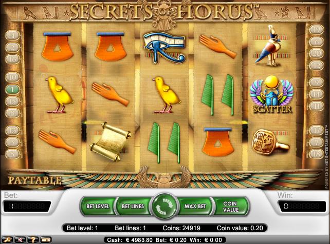 online kolikkopelit Secrets of Horus, Net Entertainment