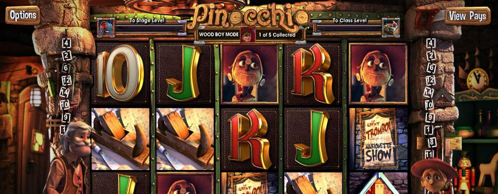 Pinocchio Betsoft kolikkopelit slider