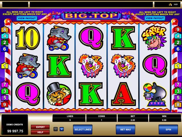Big Top Microgaming kolikkopelit screenshot
