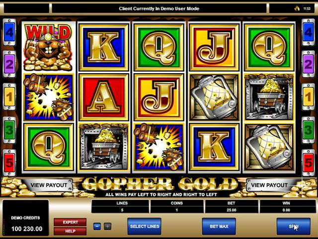 Gopher Gold microgaming kolikkopelit screenshot