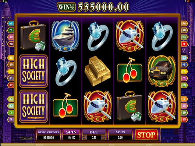 High Society microgaming kolikkopelit screenshot
