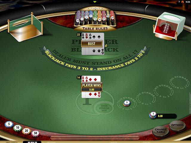 Premier Blackjack High Streak Gold Microgaming screenshot