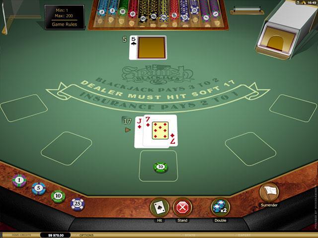 Spanish 21 Blackjack Microgaming screenshot