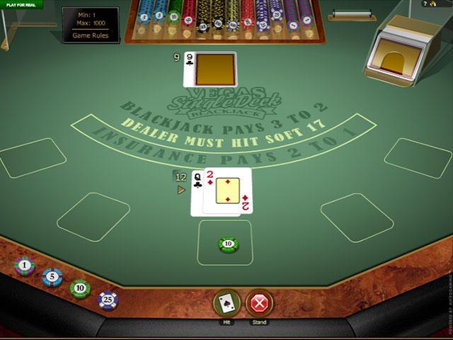 Vegas Single Deck Blackjack Gold Microgaming screenshot