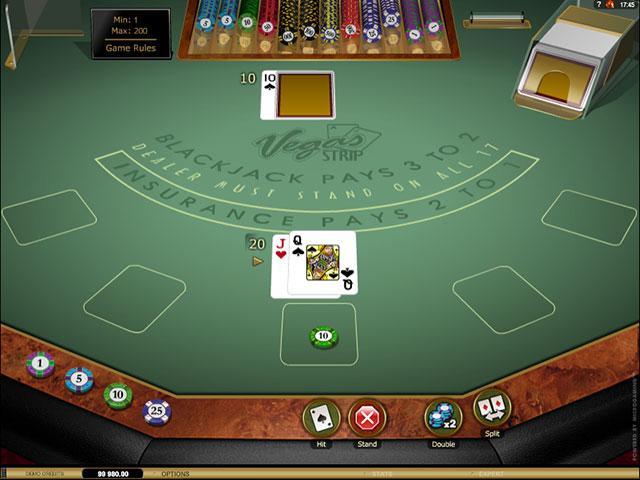 Vegas Strip Blackjack Microgaming screenshot