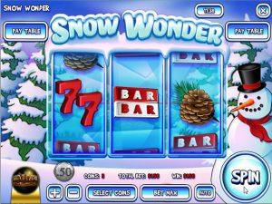 peliautomaatista, jonka nimi on Snow Wonder. Sellainen mobiilihedelmäpeli Rival -pelivalmistajalta ilmestyi vuonna 2014 ennen talvellisia juhlia. Se on klassinen peliautomaatti, jossa on kolme kelaa. Tääll