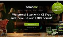 ComeOn casino Arvostelu kuvakaappaus  toripelit.com 2